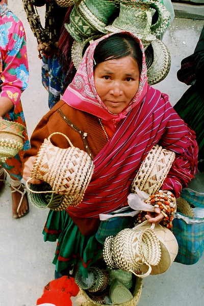 Tarahumana Indians that live in Copper Canyon.   The women try to sell their baskets to tourists on El Chepe.