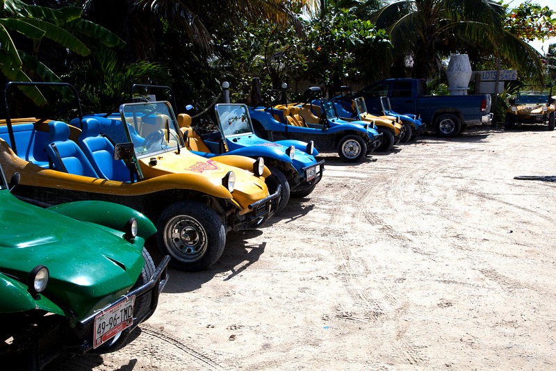 The caravan of Dune buggies.......Hotel Castillo, Costa Maya
