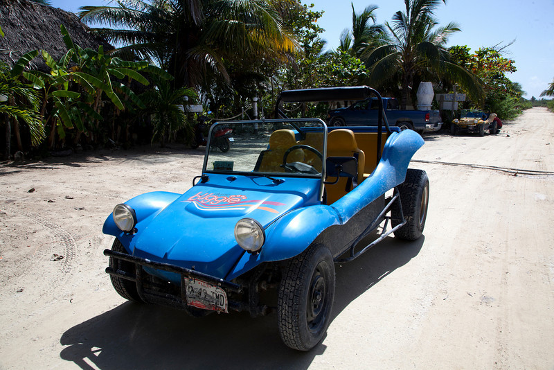 This is the Dune buggy I drove... to the Hotel Castillo, Costa Maya