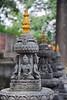 Kathmandu - Swayambhunath - Statues at the entrance to the monkey temple.