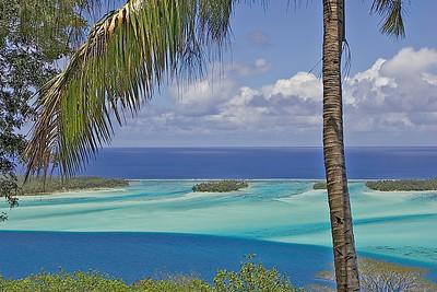 Lagoon from atop Bora Bora volcano South Pacific French Polynesia