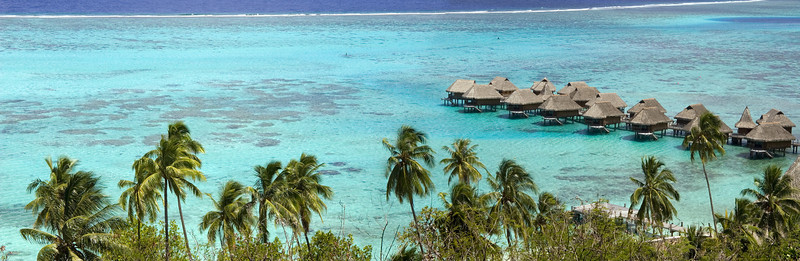 Moorea Bungalows from high pan Moorea South pacific French Polynesia