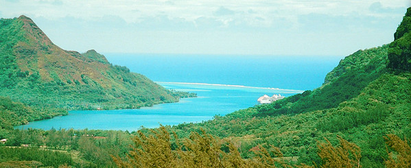 Belvedere, Moorea, a cruiseship on theleft.  Scanned from film