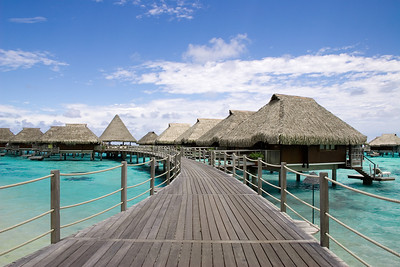 Overwater bungalows Moorea South pacific French Polynesia