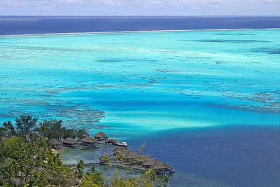Bungalows from mountain top Moorea South pacific French Polynesia