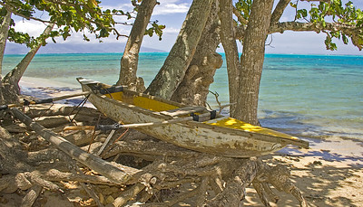 yellow outrigger Moorea South pacific French Polynesia