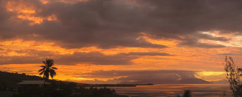 Sunset over Tahiti and Moorea tahiti French Polynesia