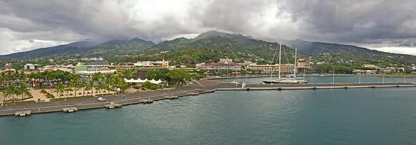 panorama Papeette from ship tahiti French Polynesia