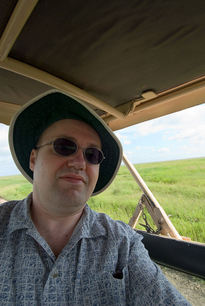 Our intrepid traveller crusing down the Serengeti Plain
