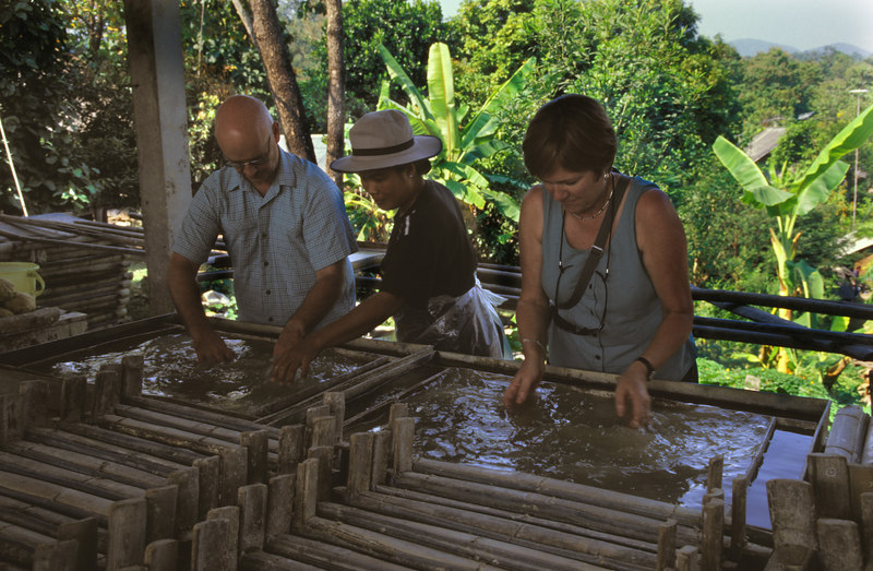 Thai Elephant Conservation Centre<br /> Making elephant dung paper.