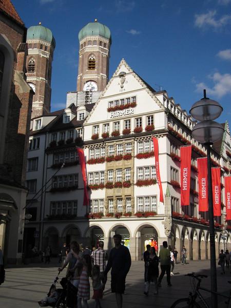 In the Marienplatz, Neues Rathaus--with Frauenkirche (Dom) behind