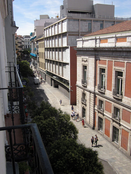 View from my balcony up Calle de Carretas--looking away from Puerta del Sol