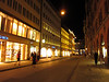 Walking back to the hotel through Munich's brightly lit Altstadt