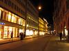 Walking back to the hotel through Munich's brightly lit Altstadt