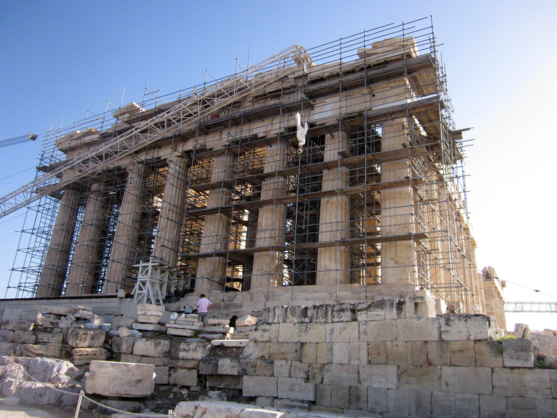 Approach to front of the Parthenon--this side covered in scaffolding