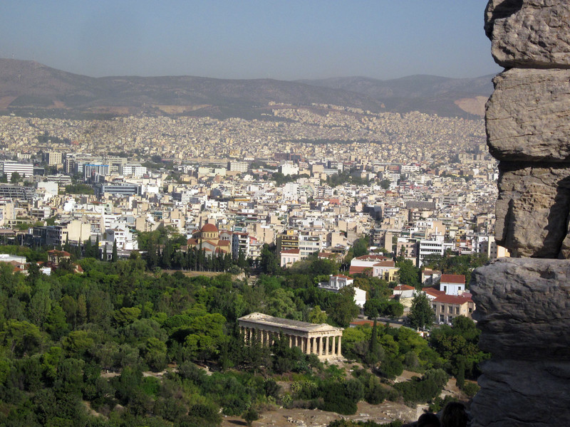 Climbing higher up the hill--view inland commands most of city of Athens.