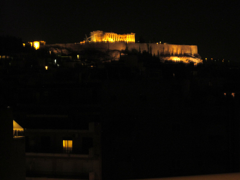 From rooftop of my Athens hotel, the Ilissos, first view of the Akropolis.