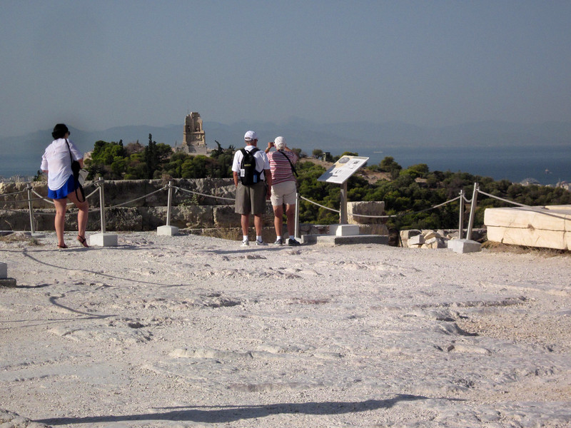 arriving on summit of the Akropolis--a broad plateau