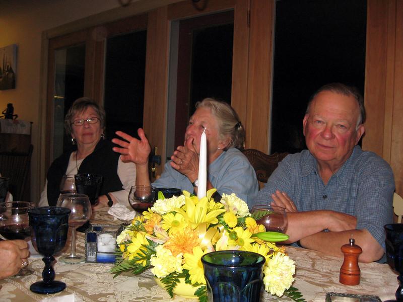 At dinner: Nina, Sue, Joe