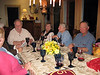 The reunion gang enjoying Nina's scallop dinner: Maggie, Murf, Nina, Sue, Joe