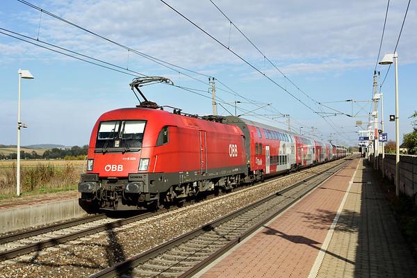 1116 029 and 1144 273, Markersdorf a.d. Pielach 15/10/2013 REX1624 1404 Wien Westbahnhof-St Valentin