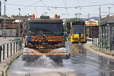 Budapest Tramway Track Watering Lorry, Széil Kálmán Tér, Hungary 30/6/2012