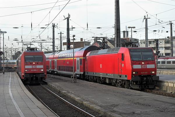 146031 and 101055, Köln Hbf 6/3/2013 146031: RE10131 1551 Aachen Hbf-Hamm 101055: IC2012 0946 Oberstdorf-Hannover Hbf