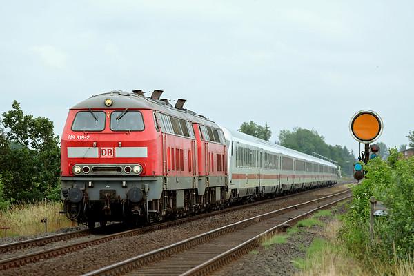 218319 and 218344, Langenhorn 13/7/2015 IC2310 0638 Frankfurt (M) Hbf-Westerland