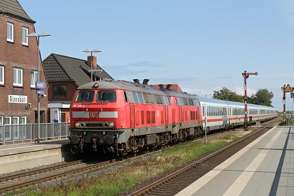 218319 and 218344, Klanxbüll 14/7/2015 IC2310 0638 Frankfurt (M) Hbf-Westerland