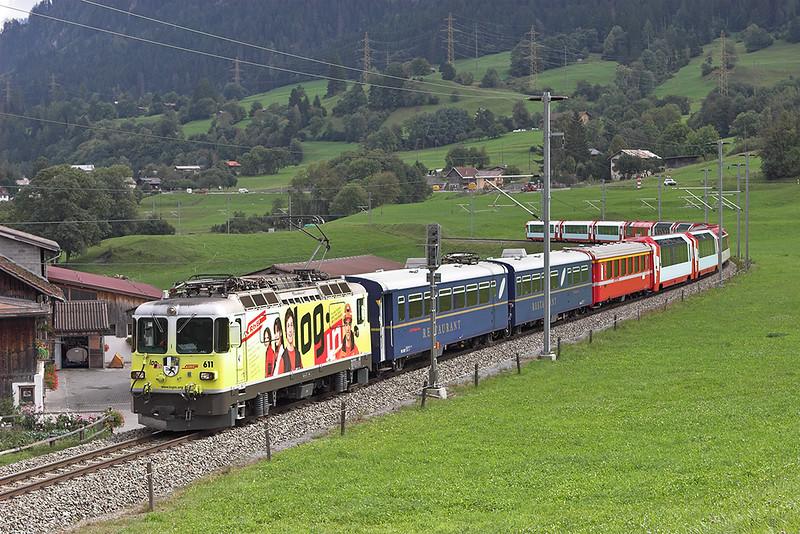 611 Ilanz 19/9/2008<br /> D909 1004 St Moritz-Zermatt and D911 1010 Davos Platz-Zermatt