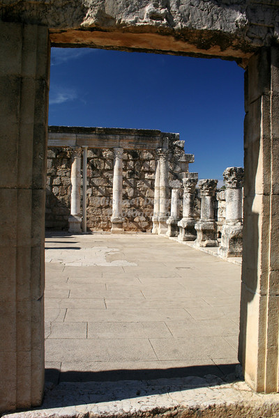 The Synagogue at Capernaum, Israel. Located on the Sea of Galilee.