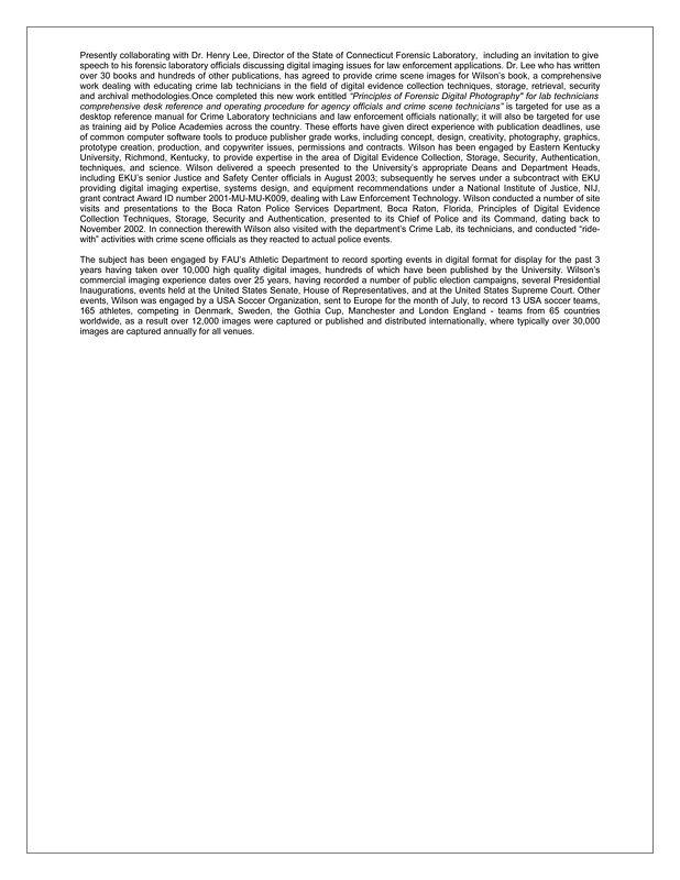 Resume of James L Wilson FAU Imaging  2004-2005 On-Line version pg 2