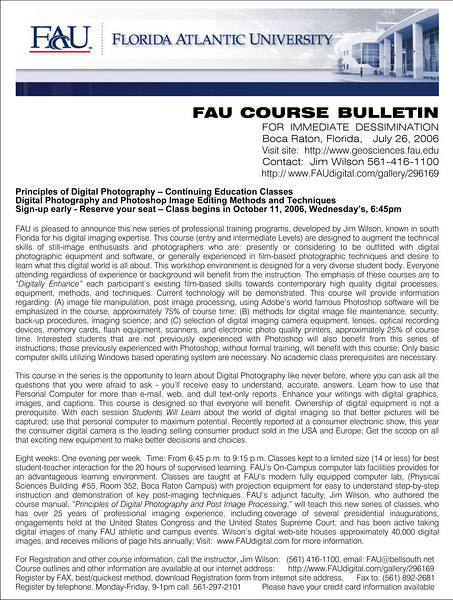 BULLETIN - Principles of Digital Photography - for October 11, 2006 WED Classes