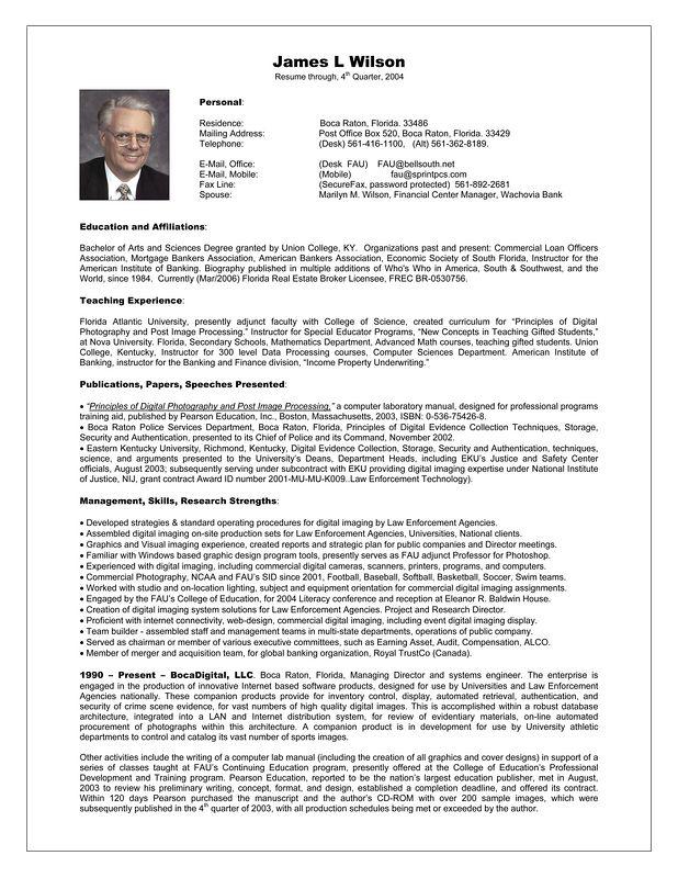 Resume of James L Wilson FAU Imaging  2004-2005 On-Line v pg 1