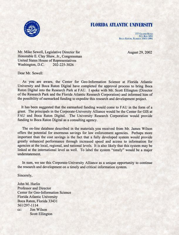 FAU letter from Dr Harlin 29 Aug 2002