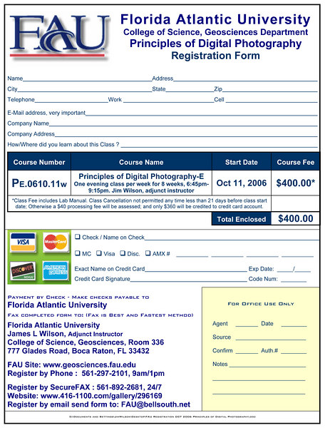 FAU Registration OCT 2006 Principles of Digital Photography