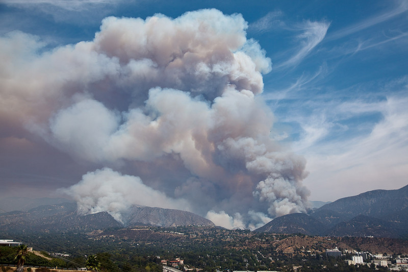 August 28, 2009 - 11 am: Having consumed much of Mt. Lukens, the Station Fire has jumped across the Angeles Crest highway and is roaring through the Arroyo Seco, heading down canyon towards La Canada and Jet Propulsion Laboratory.