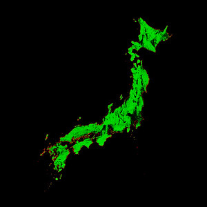 Forest cover map of Japan