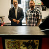 Mayor Dean Mazzarella joined the owners of Forever Bold Tattoo Co., Jason Joy,  for a ribbon cutting on Thursday afternon. SENTINEL & ENTERPRISE / Ashley Green