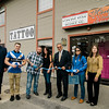Mayor Dean Mazzarella joined the owners of Forever Bold Tattoo Co. for a ribbon cutting on Thursday afternon. From left, Jeff Ardis, from the Chamber of Commerce, Dylan Joy, Jason Joy, Lisa McRell, Mayor Dean Mazzarella, Melissa Tasca and Lisa Marone. SENTINEL & ENTERPRISE / Ashley Green