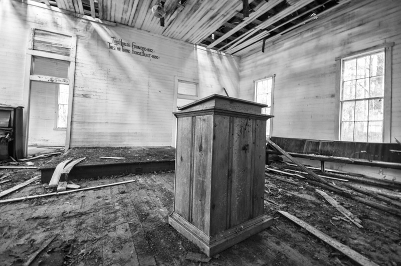 Inside the old Mt Gilead Baptist Church. Bibb County