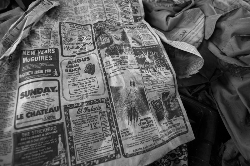 Newspaper from December, 1979 in an old motel room. Conecuh County