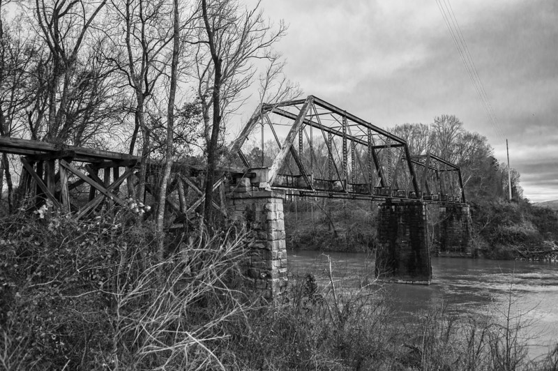 The Montgomery & Tallassee RR bridge south of Tallassee. Elmore County