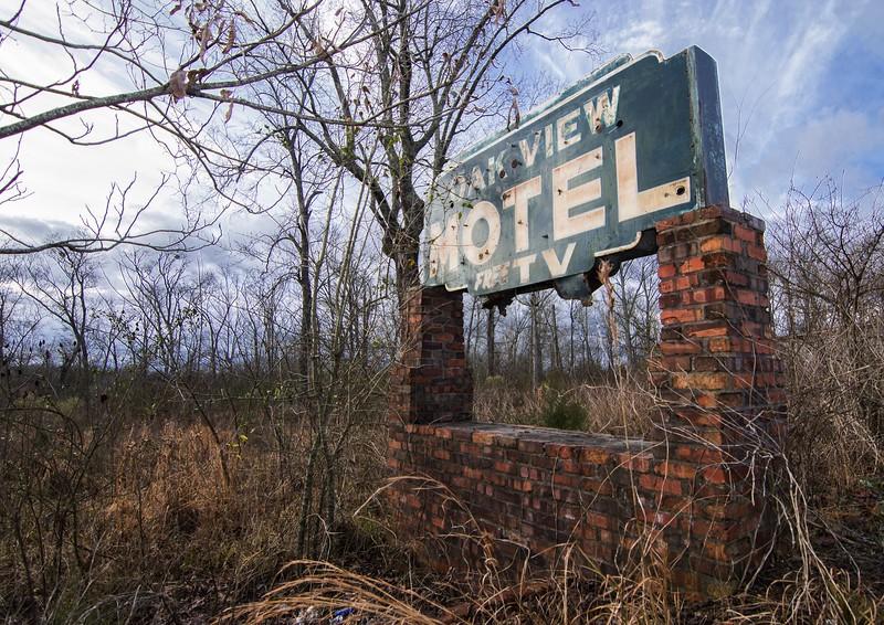 Oak View Motel sign. Dallas County