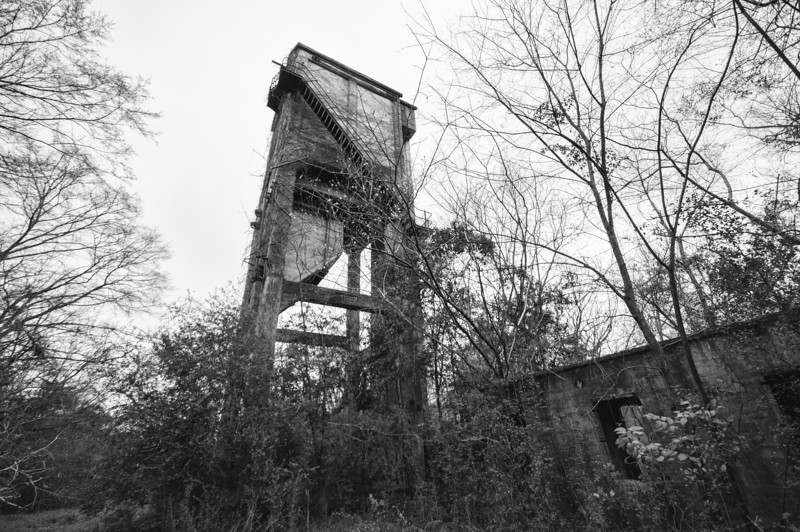 A quite tall coal tipple of the Central of Georgia RR in Union Springs. Bullock County