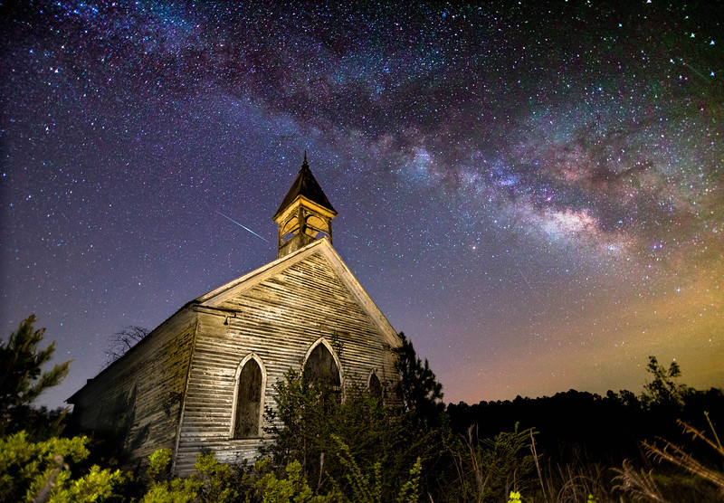 The Milky Way adorns the old Coatopa Presbyterian Church in Sumter County, Alabama