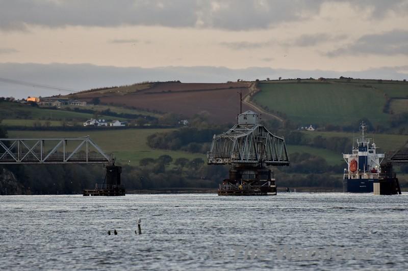 "General Cargo Ship ""Kaili"" passes through the Barrow Bridge. Sun 27.10.19"