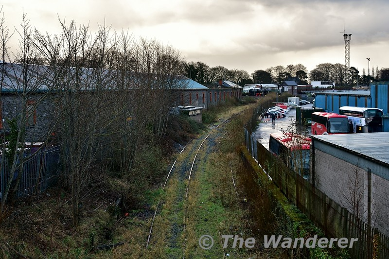 The view from the Roxboro Road Bridge of the Cement Factory Siding (left) and Foynes Line (right) looking towards Limerick Check. Sat 09.02.19