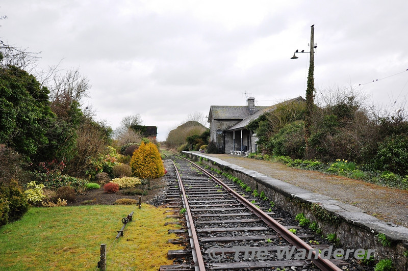 Askeaton Station as viewed from the level crossing. The station building is now a house. The station contained a single platform on the up side. The station closed to passengers in 1963 and goods in 1968. Sun 31.03.13