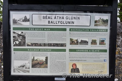 """The closed Ballyglunin Station between Tuam and Athenry. The station is famous for being the location of Castletown Station in the 1952 film """"The Quiet Man"""" starring John Wayne and Maureen O'Hara. Information Panel outside the station. Mon 06.08.18"""